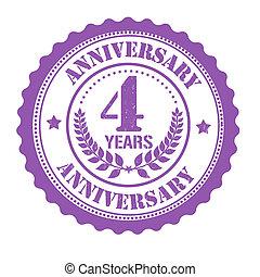 4 years anniversary stamp