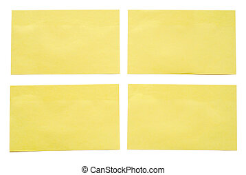 4 yellow notes stuck to a white background.