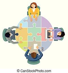 4 zusammen.eps - Team Zusammenarbeit und Verbinden,...