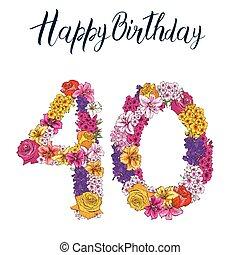 40, ディジット, 作られた, の, 別, 花, 隔離された, 白, バックグラウンド。, 誕生日おめでとう, inscription., ベクトル, イラスト
