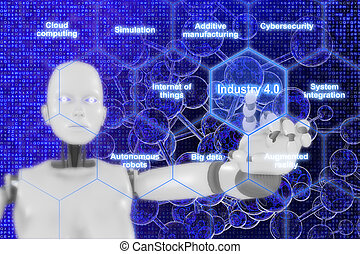 4.0, 産業, ロボット, 感動的である, 格子, 女性, 六角形