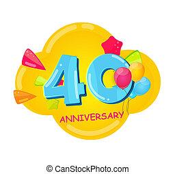 40, 記念日, 漫画, テンプレート, 年, かわいい, イラスト