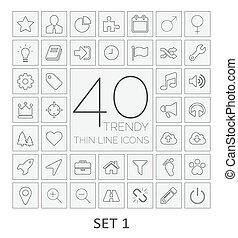 40, 은 선을 엷게 한다, icons., 세트, 1.