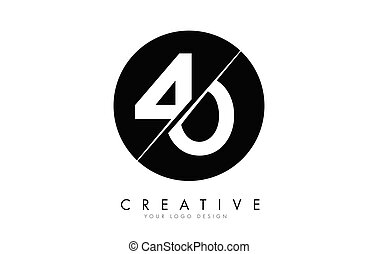 40 4 0 Number Logo Design with a Creative Cut and Black ...