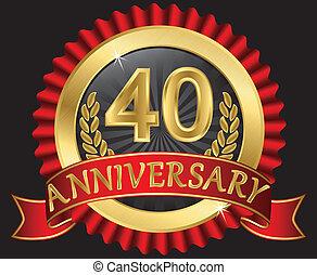 40, años, aniversario, dorado
