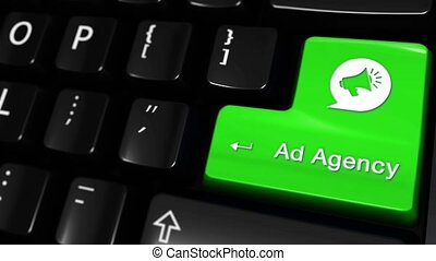 40. Ad Agency Moving Motion On Green Enter Button On Modern Computer Keyboard with Text and icon Labeled. Selected Focus Key is Pressing Animation. advantage marketing