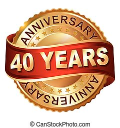 40, anni, anniversario, dorato, etichetta, con, ribbon.