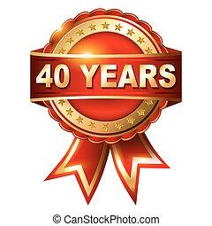 40, anni, anniversario, dorato, etichetta