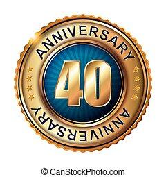 40, anni, anniversario, dorato, label.