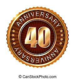 40, anni, anniversario, dorato, marrone, label.