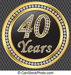 40, anni, anniversario, felice, birthda
