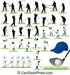 40, ausführlich, golfen, vektor, silhouetten
