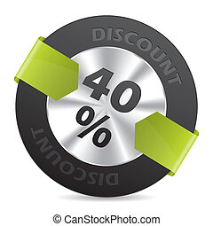 40% discount badge with green arrow ribbon on white...