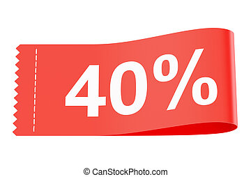40% discount clothing tag, 3D rendering