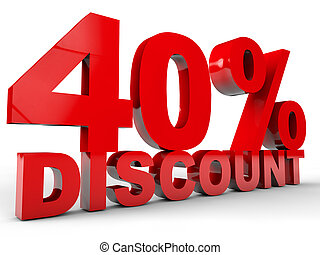 40% Discount over white background