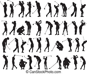 40, femmina, golf, pose, silhouette