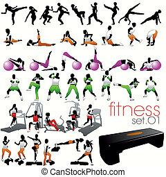 40, fitness, silhouetten, satz