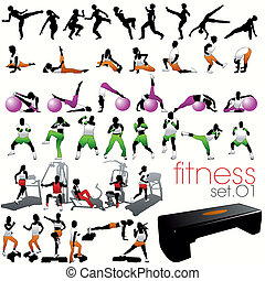 40, fitness, silhouettes, set