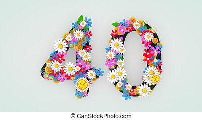 """40."""", floral, animation, """"numerical, chiffre"""