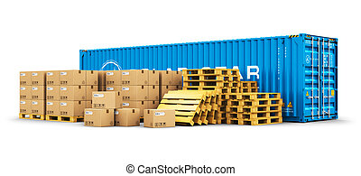 40 ft cargo container and shipping pallets with cardboard boxes