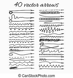 40, hand-drawn, set, vettore, arrows., illustration.