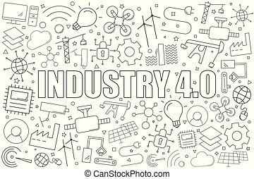 4.0, industrie, pattern., vecteur, fond, ligne, icon., linéaire