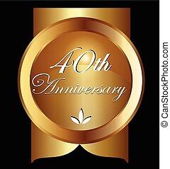 40, jaren, jubileum, groet, card., goud, vector, ontwerp