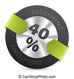 40%, korting, groene, richtingwijzer, badge, lint