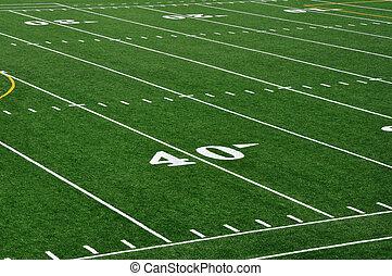 40, linha terreno, ligado, futebol americano, campo