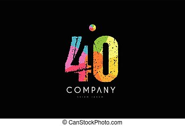 40 number grunge color rainbow numeral digit logo