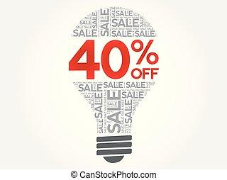 40%, palavra, venda, bulbo, desligado, nuvem