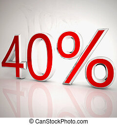 40 per cent over white reflecting background, 3d rendering