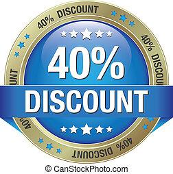 40 percent discount blue gold button
