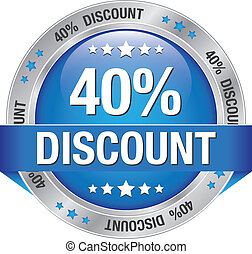 40 percent discount blue silver button