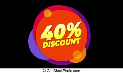40% Percent Discount Text Flat Sticker Colorful Popup...