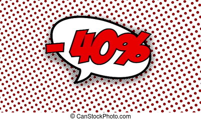 40 percent discount text in speech balloon in comic style...