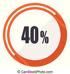 40 percent flat design vector web icon. Round orange internet button isolated on white background.