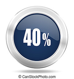 40 percent icon, dark blue round metallic internet button, web and mobile app illustration