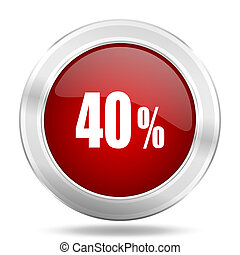 40 percent icon, red round glossy metallic button, web and mobile app design illustration