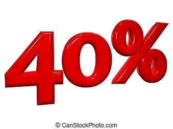 40 percent in red letters on a white background