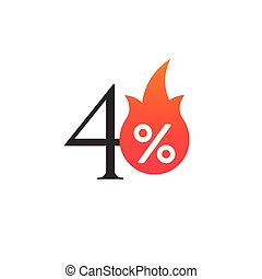 40 percent off with the flame, burning sticker, label or icon. Hot Sale flame and percent sign label, sticker. special offer, big sale, discount percent off. Vector illustration isolated on white background