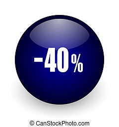 40 percent sale retail blue glossy ball web icon on white background. Round 3d render button.