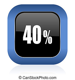 40 percent square glossy icon sale sign