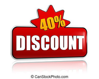 40 percentages discount 3d red banner with star