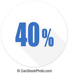 40, procent, moderne, pictogram, ontwerp, plat