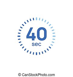 40 second timer clock. 40 sec stopwatch icon countdown time digital stop chronometer