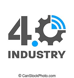 4.0, symboliser, 4.0., concept, 10, sans fil, eps, usine, engrenage, industrie, intelligent, -, logo