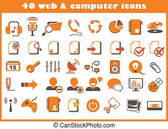 40, tela, y, iconos de computadora