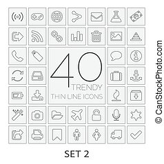 40 Thin Line Icons. Set 2.