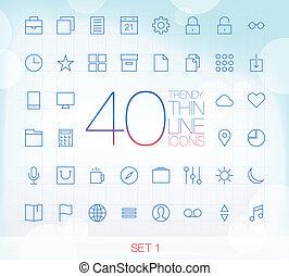 40 Trendy Thin Icons Set 1